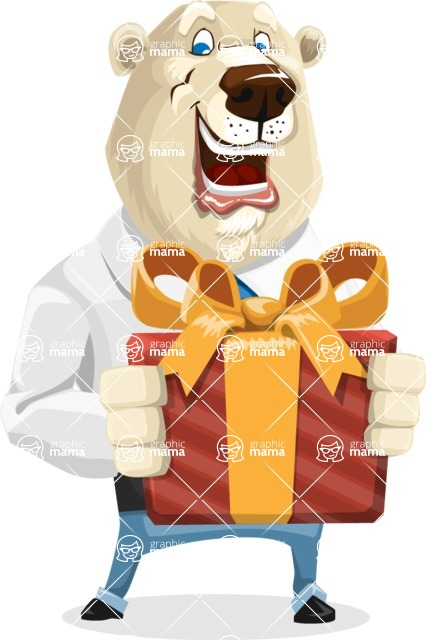 Polar Bear Cartoon Character - Gift