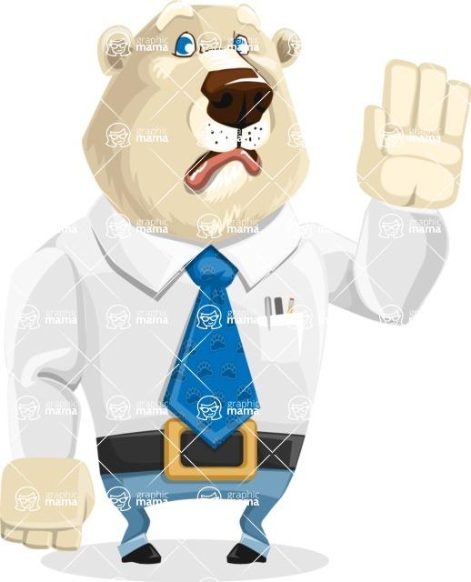 Polar Bear Cartoon Character - Goodbye