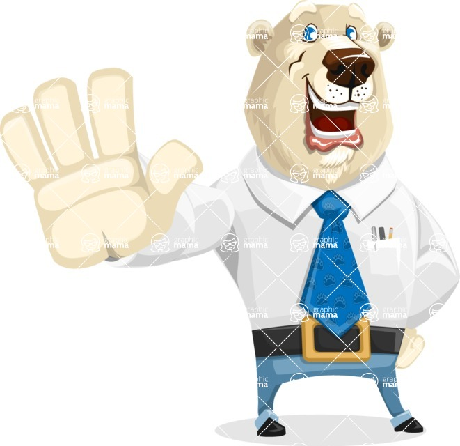 Polar Bear Cartoon Character - Hello