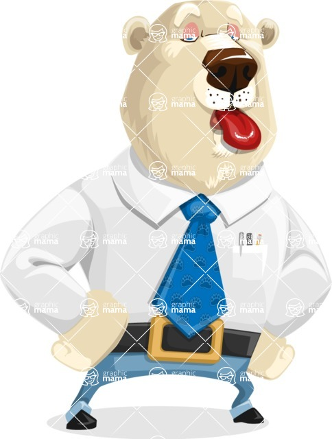 Polar Bear Cartoon Character - Making Face