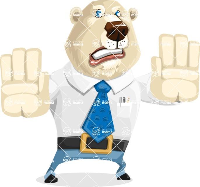 Polar Bear Cartoon Character - Stop