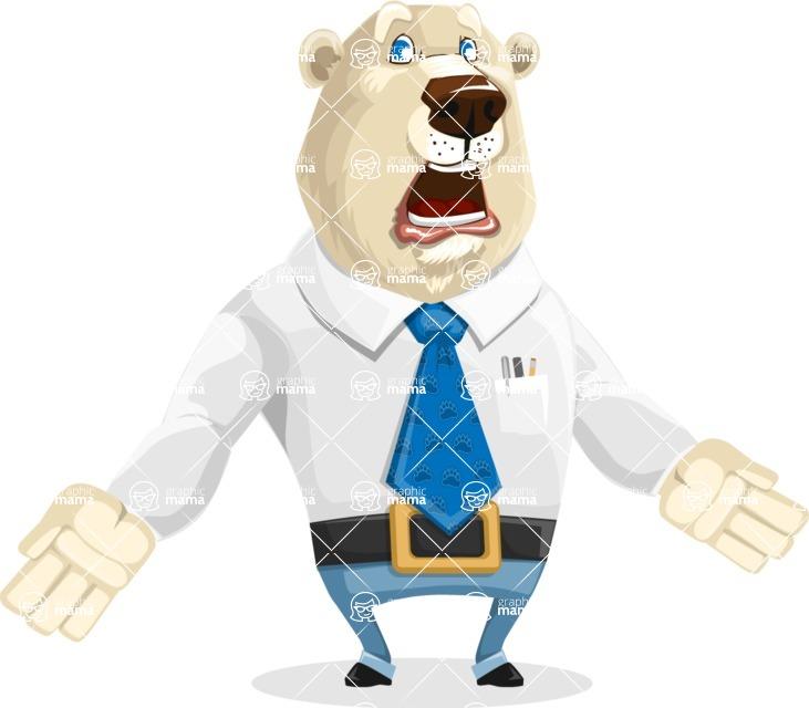 Polar Bear Cartoon Character - Stunned