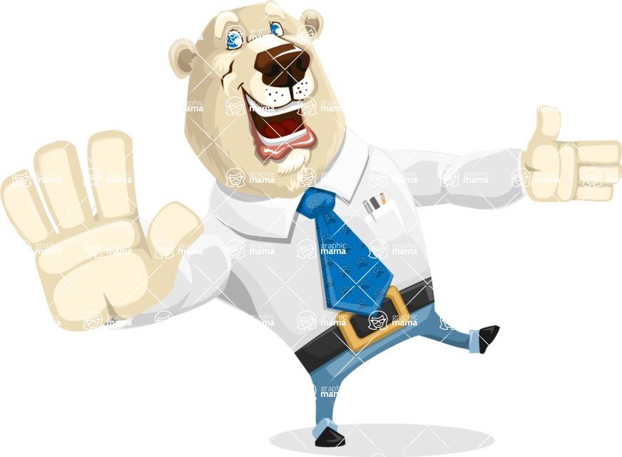 Polar Bear Cartoon Character - Wave