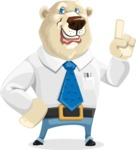 Polar Bear Cartoon Character - Attention