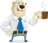 Polar Bear Cartoon Character - Coffee