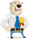 Polar Bear Cartoon Character - Ribbon