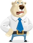 Polar Bear Cartoon Character - Roll Eyes