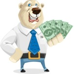 Polar Bear Cartoon Character - Show me the Money