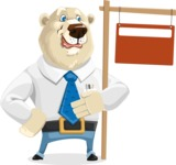 Polar Bear Cartoon Character - Sign 9