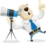 Polar Bear Cartoon Character - Telescope