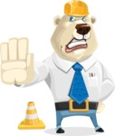 Polar Bear Cartoon Character - Under Construction 1