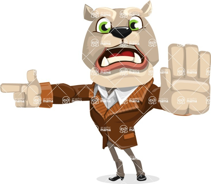 Bulldog Cartoon Vector Character AKA Baron Bulldog - Direct Attention