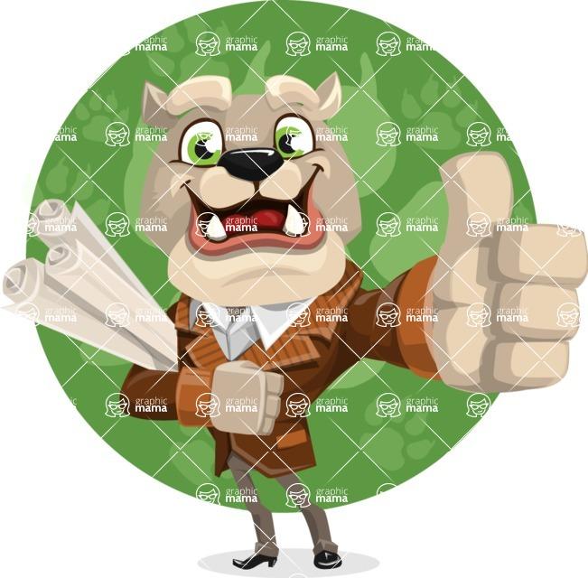 Bulldog Cartoon Vector Character AKA Baron Bulldog - Shape 11