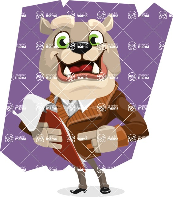 Bulldog Cartoon Vector Character AKA Baron Bulldog - Shape 12