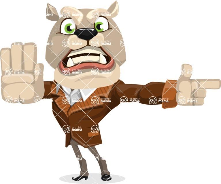 Bulldog Cartoon Vector Character AKA Baron Bulldog - Direct Attention 2