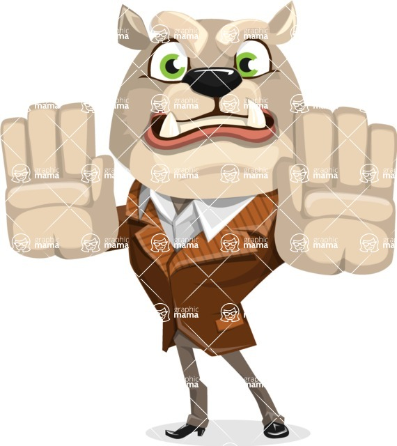 Bulldog Cartoon Vector Character AKA Baron Bulldog - Stop 2