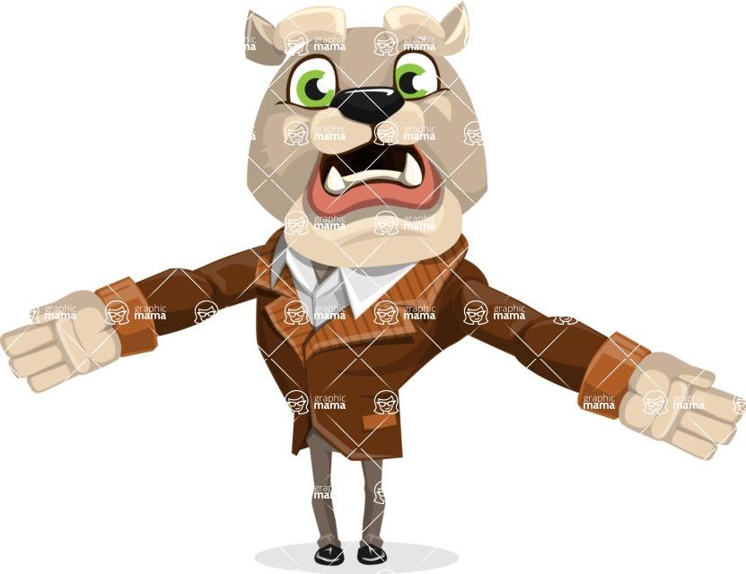 Bulldog Cartoon Vector Character AKA Baron Bulldog - Stunned