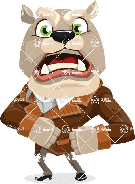Bulldog Cartoon Vector Character AKA Baron Bulldog - Angry