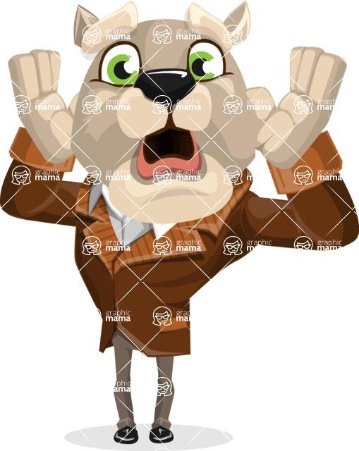 Bulldog Cartoon Vector Character AKA Baron Bulldog - Shocked