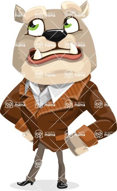 Bulldog Cartoon Vector Character AKA Baron Bulldog - Roll Eyes