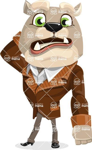 Bulldog Cartoon Vector Character AKA Baron Bulldog - Confused