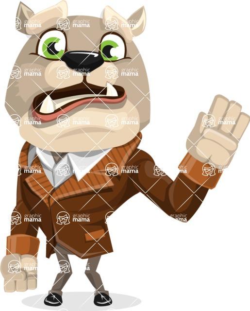 Bulldog Cartoon Vector Character AKA Baron Bulldog - Goodbye