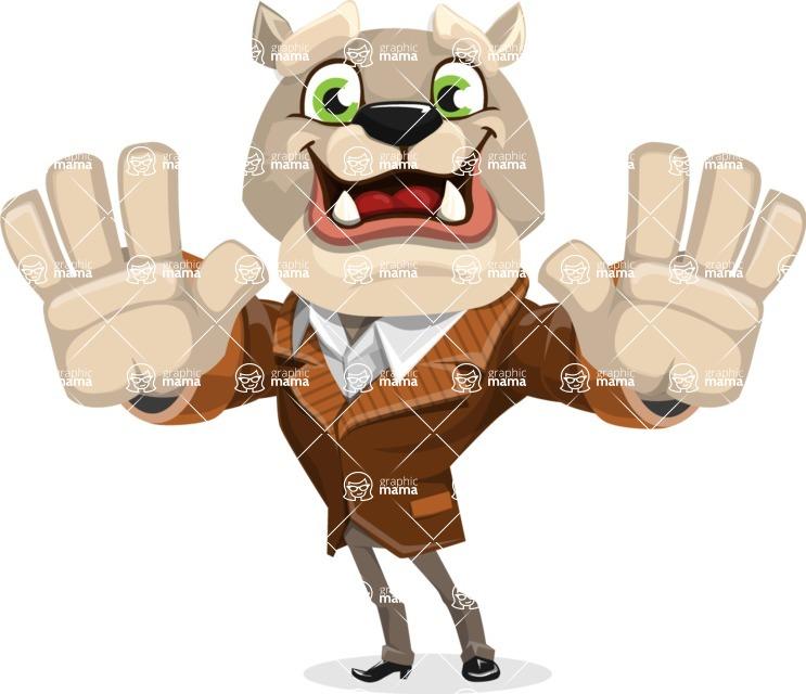 Bulldog Cartoon Vector Character AKA Baron Bulldog - Hello