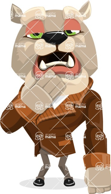 Bulldog Cartoon Vector Character AKA Baron Bulldog - Bored