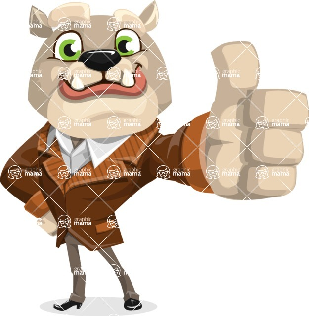 Bulldog Cartoon Vector Character AKA Baron Bulldog - Thumbs Up