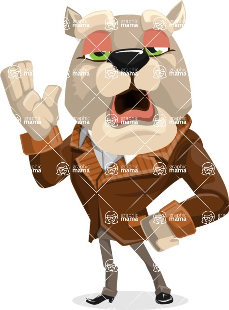 Bulldog Cartoon Vector Character AKA Baron Bulldog - Bored 2