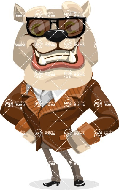 Bulldog Cartoon Vector Character AKA Baron Bulldog - Sunglasses