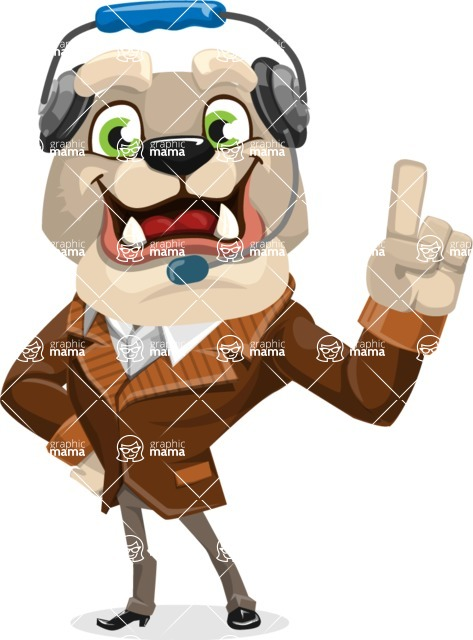 Bulldog Cartoon Vector Character AKA Baron Bulldog - Support 2