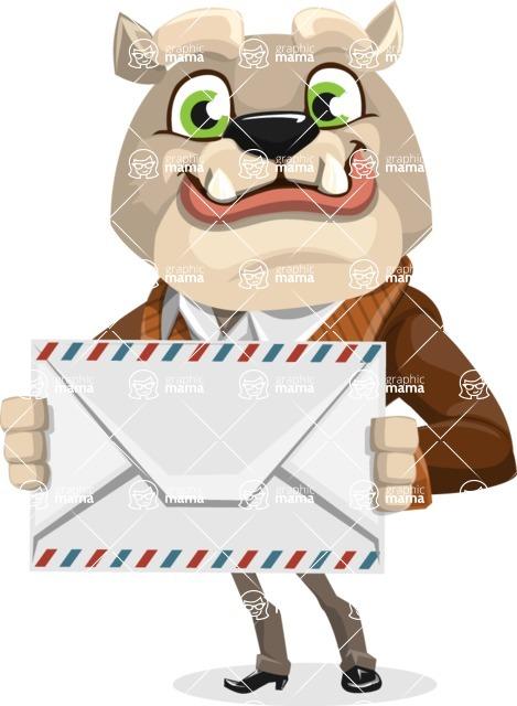 Bulldog Cartoon Vector Character AKA Baron Bulldog - Letter