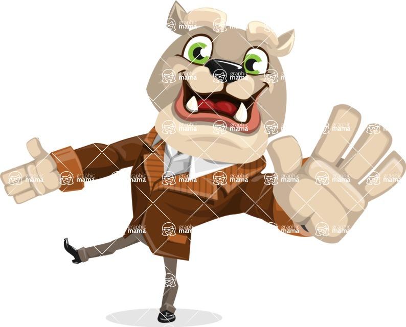 Bulldog Cartoon Vector Character AKA Baron Bulldog - Wave