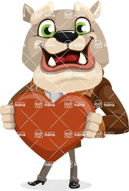 Bulldog Cartoon Vector Character AKA Baron Bulldog - Love