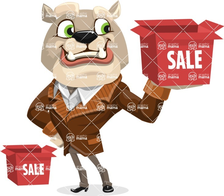 Bulldog Cartoon Vector Character AKA Baron Bulldog - Sale