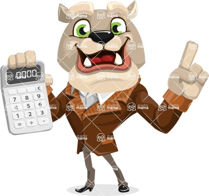 Bulldog Cartoon Vector Character AKA Baron Bulldog - Calculator
