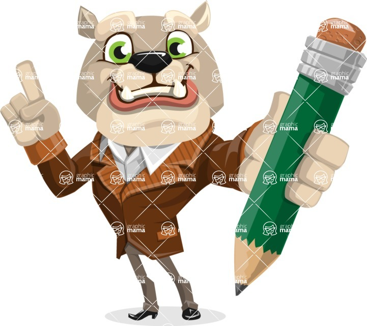 Bulldog Cartoon Vector Character AKA Baron Bulldog - Pencil