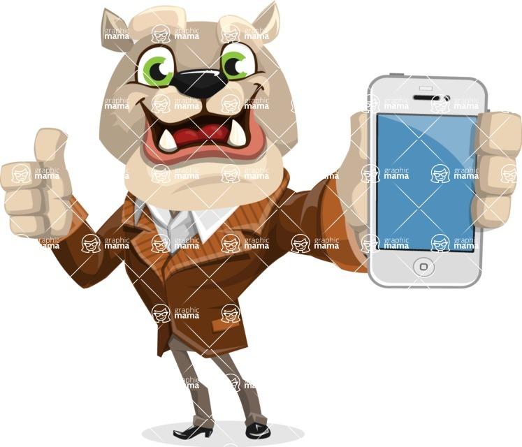 Bulldog Cartoon Vector Character AKA Baron Bulldog - iPhone