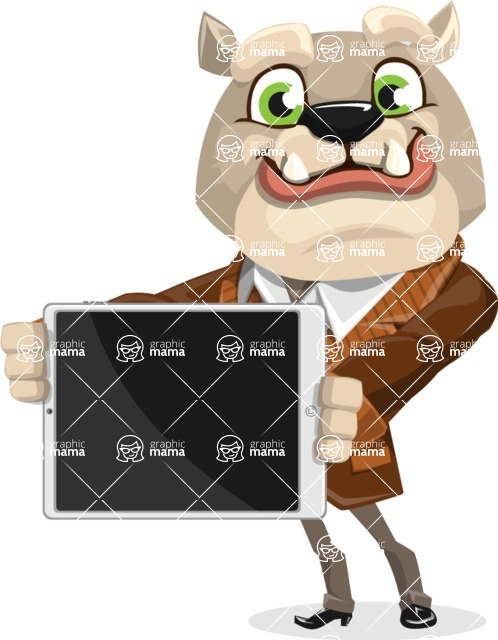 Bulldog Cartoon Vector Character AKA Baron Bulldog - iPad 2