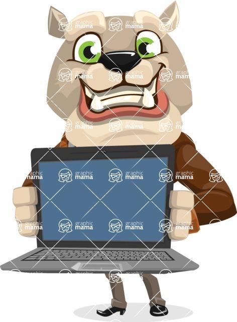 Bulldog Cartoon Vector Character AKA Baron Bulldog - Laptop 2