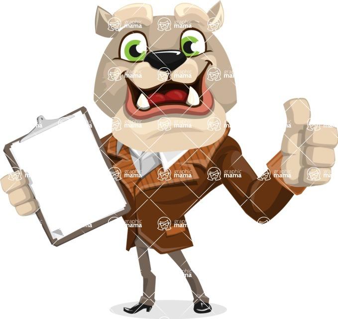 Bulldog Cartoon Vector Character AKA Baron Bulldog - Notepad 1