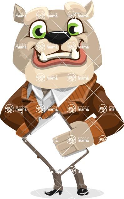 Bulldog Cartoon Vector Character AKA Baron Bulldog - Notepad 4