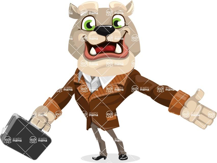 Bulldog Cartoon Vector Character AKA Baron Bulldog - Briefcase 1