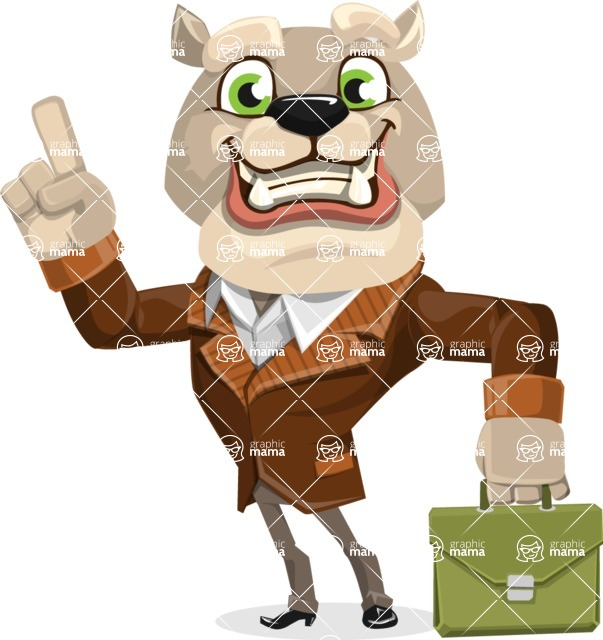 Bulldog Cartoon Vector Character AKA Baron Bulldog - Briefcase 2