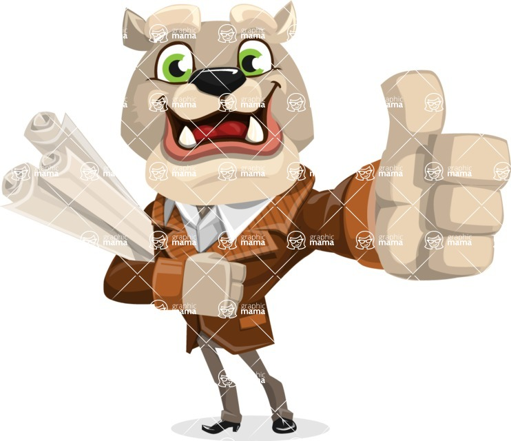 Bulldog Cartoon Vector Character AKA Baron Bulldog - Plans