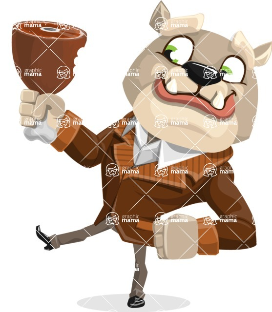Bulldog Cartoon Vector Character AKA Baron Bulldog - Meat