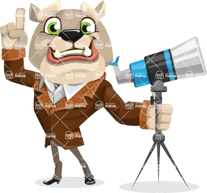 Bulldog Cartoon Vector Character AKA Baron Bulldog - Telescope