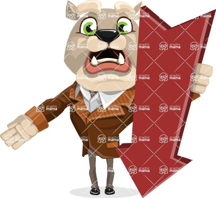 Bulldog Cartoon Vector Character AKA Baron Bulldog - Pointer 3
