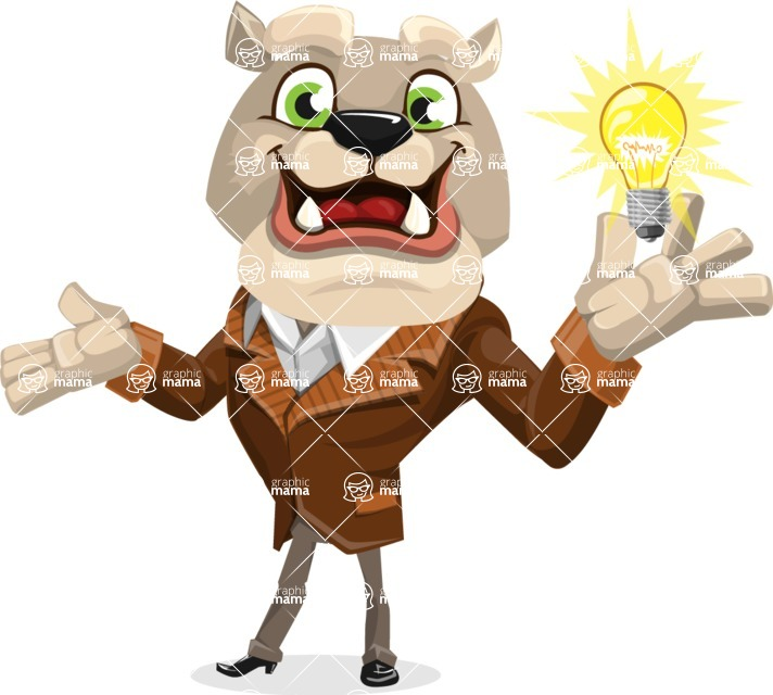 Bulldog Cartoon Vector Character AKA Baron Bulldog - Idea 1